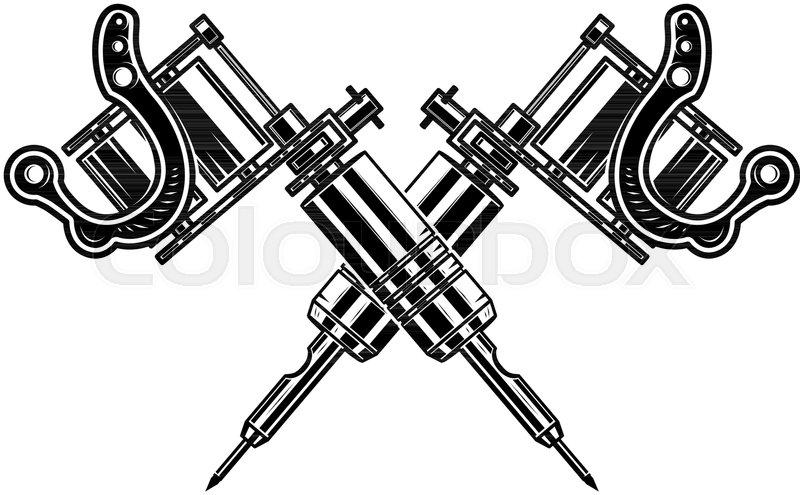 crossed tattoo machines isolated on