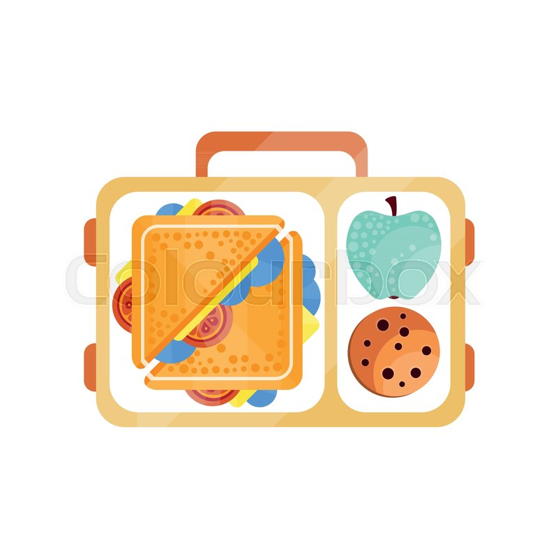 Lunch Bag With Sandwich Chocolate Cookie And Apple Healthy Food For Kids Students Children Time Vector Illustration Isolated On A White