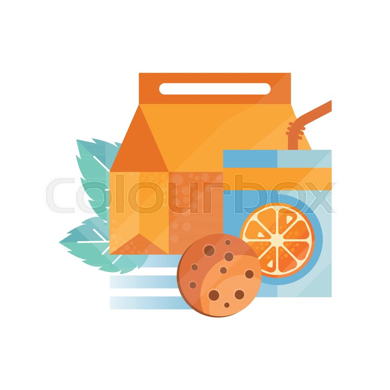 Lunch Bag With Cookie And Orange Juice Healthy Food For Kids Students Children Time Vector Illustration Isolated On A White Background