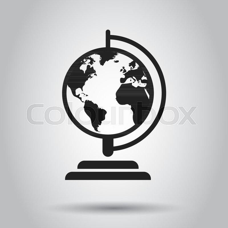 Globe world map vector icon round earth flat vector illustration globe world map vector icon round earth flat vector illustration planet business concept pictogram stock vector colourbox gumiabroncs Gallery