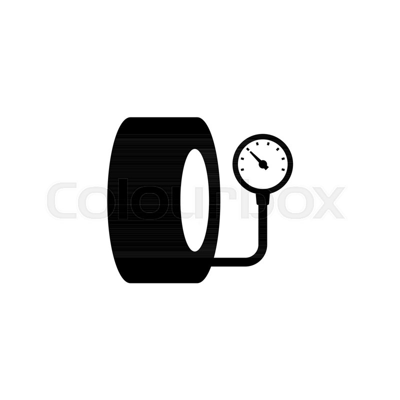 Tire Pressure Gauge Vector Icon Simple Flat Symbol On White