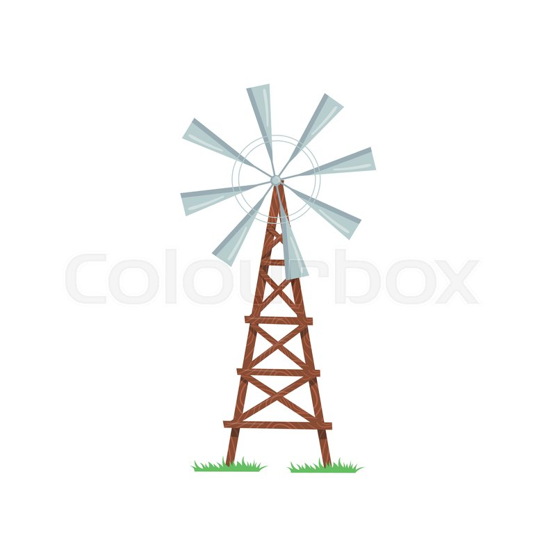 Eight Bladed Wind Pump Used To Pumping Stock Vector