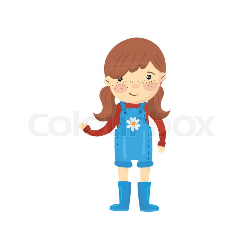 Young Gardener Girl Dressed In Blue Stock Vector Colourbox