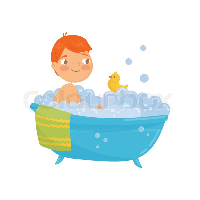 Funny red-haired boy taking bath with rubber duck toy. Bathtub with ...