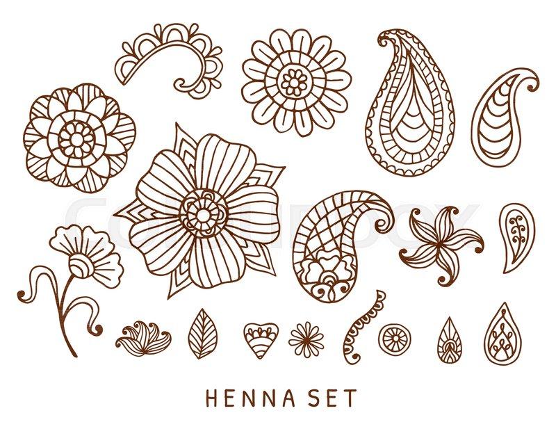 Henna Tattoo Vector: Vector Henna Tattoo Doodles Set. ...