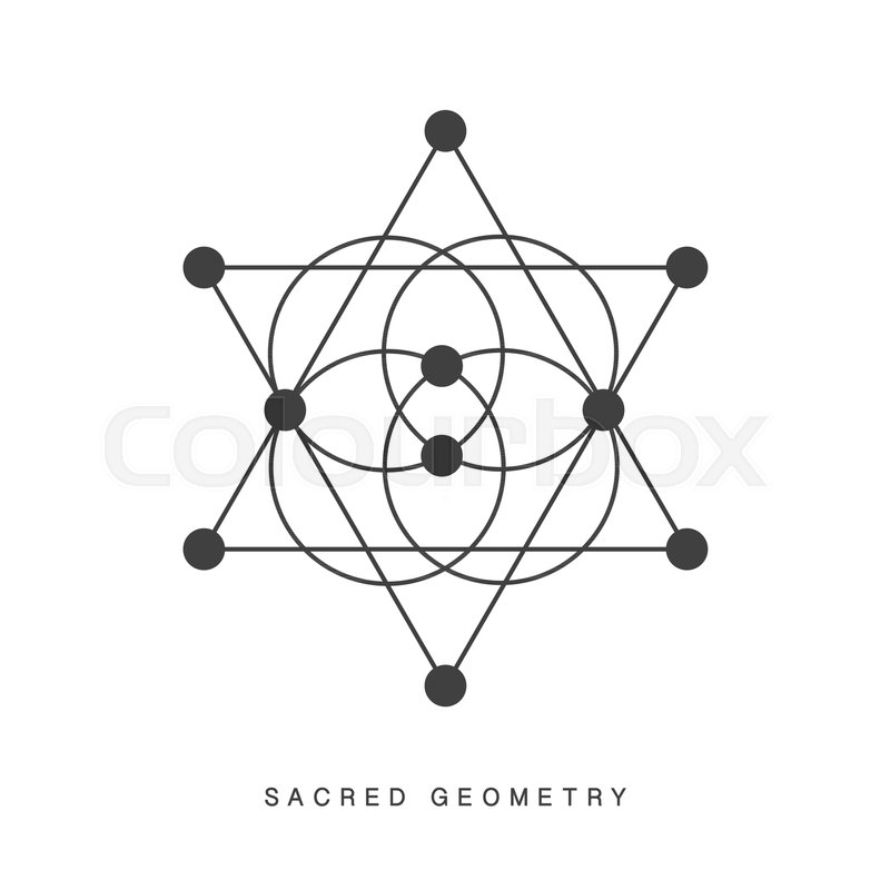 Sacred Geometry Sign Tattoo Isolated On White Alchemy Linear