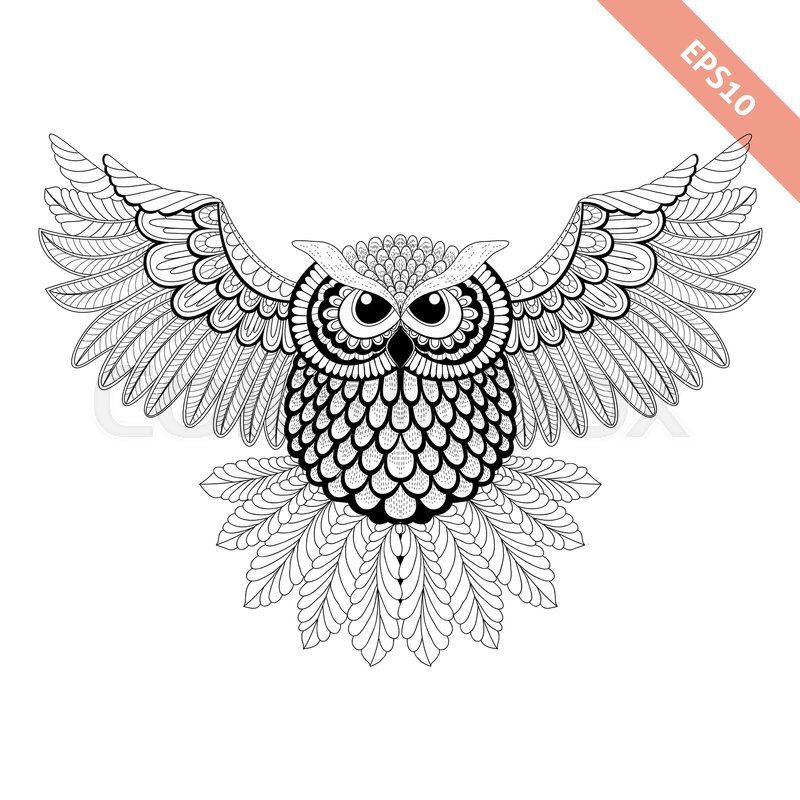 Stock Vector Of Hand Drawn Flying Ornate Doodle Owl Design For Coloring Page