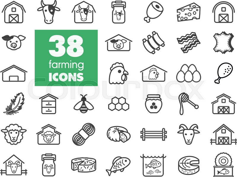 Farm Animal Icons Set Graph Symbol For Your Web Site Design Logo