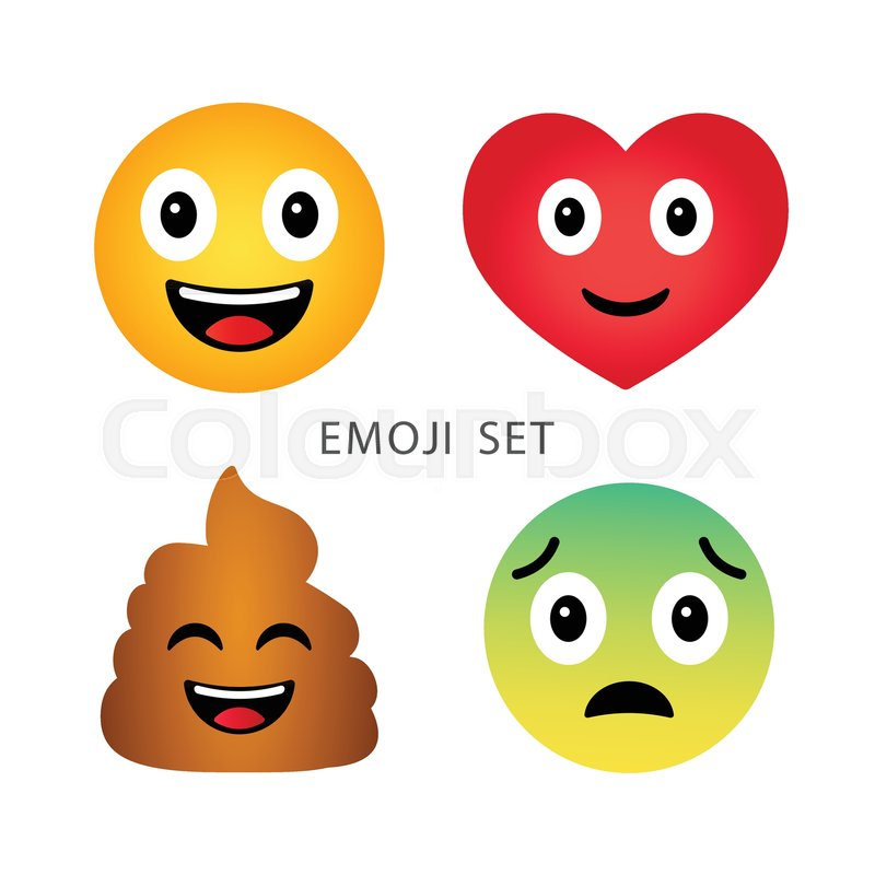 Emoji Set Cute Funny Cartoon Emotional Heart Poop Happy And Sad