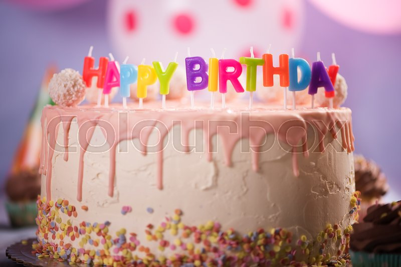 Happy Birthday Candles Pink Cake With