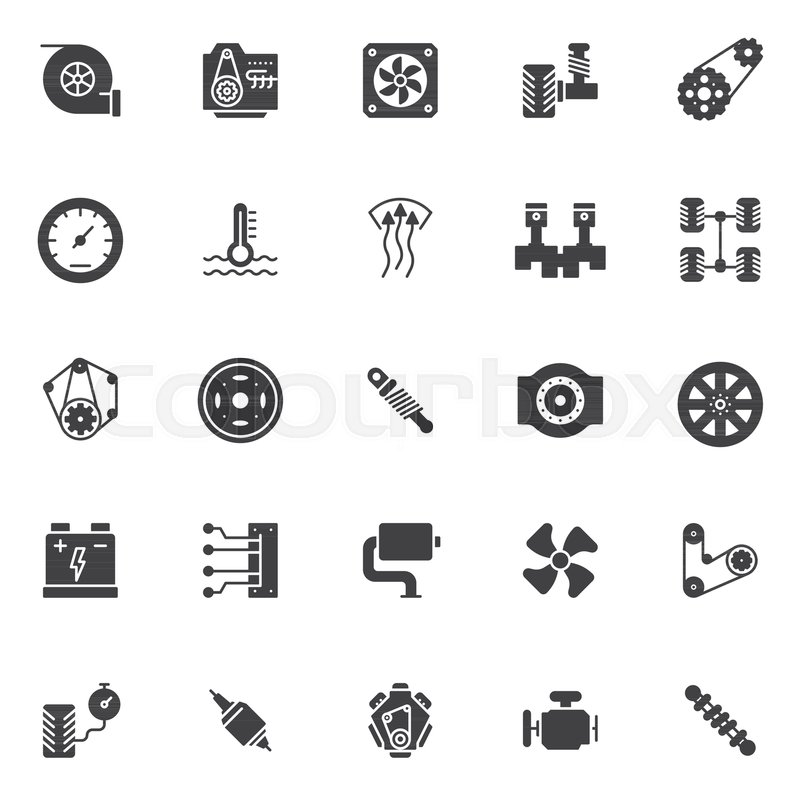Car Engine Elements Vector Icons Set Modern Solid Symbol Collection