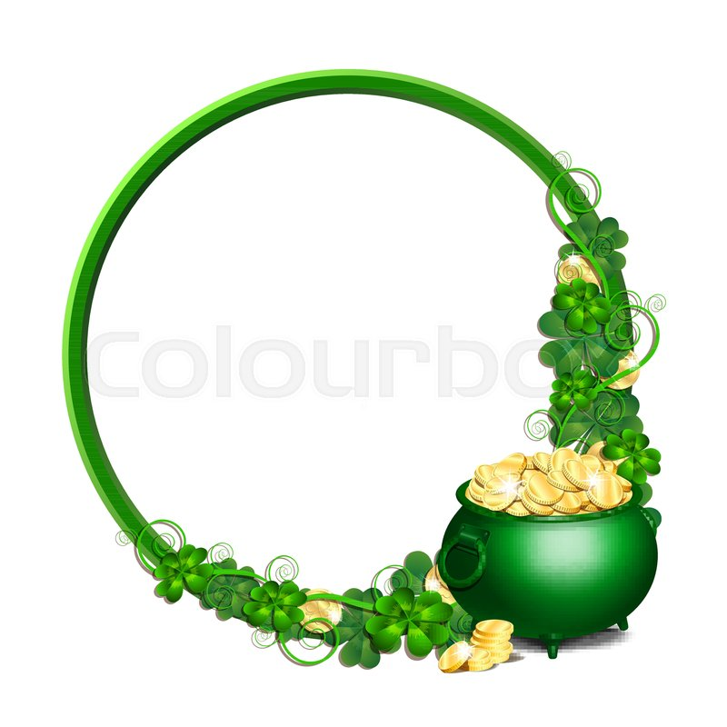Patrick Day Round Green Frame With St Patricks Day Symbols Pot