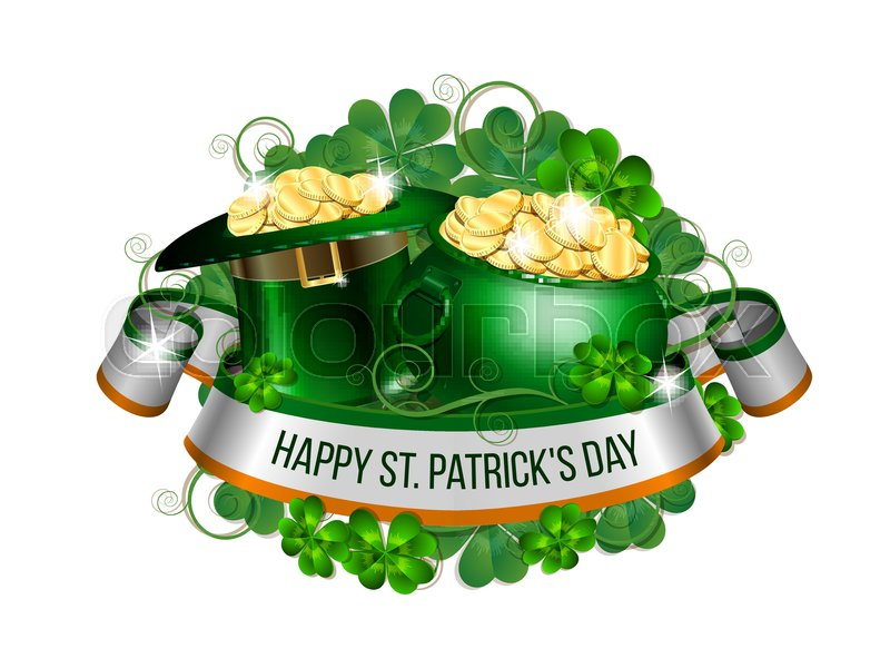 Patrick Day Card With Ribbon Leprechaun Hat Pot Full Of Coins And
