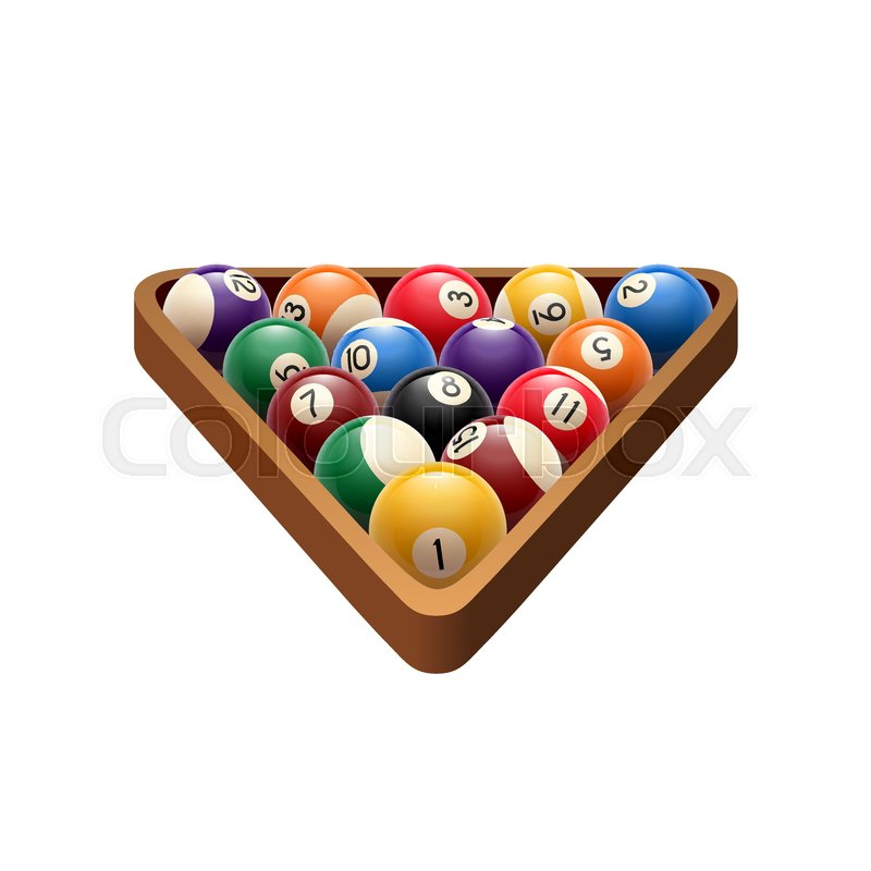 Pool Or American Billiards Balls In Triangle Vector Isolated Icon - Us billiards pool table