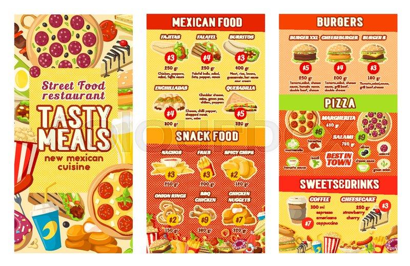 fast food restaurant menu design template for street food burgers