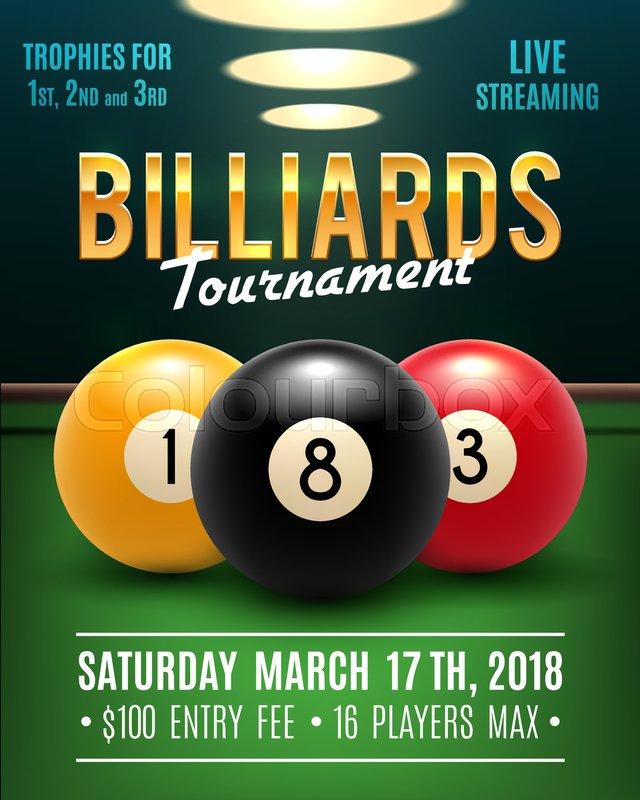 Pool Billiards Tournament Announcement Stock Vector