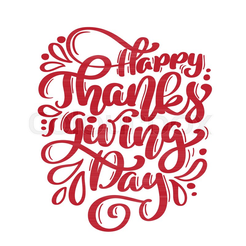 hand drawn happy thanksgiving day text typography poster