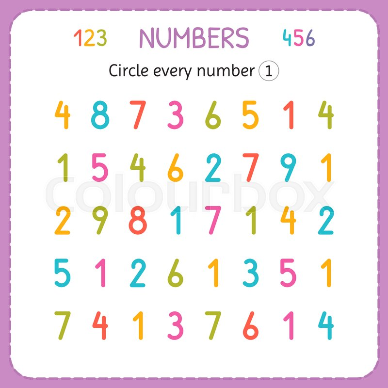 Circle every number One. Numbers for kids. Worksheet for ...