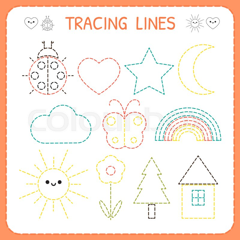 Kindergartens Educational Game For Kids Preschool Tracing Worksheet