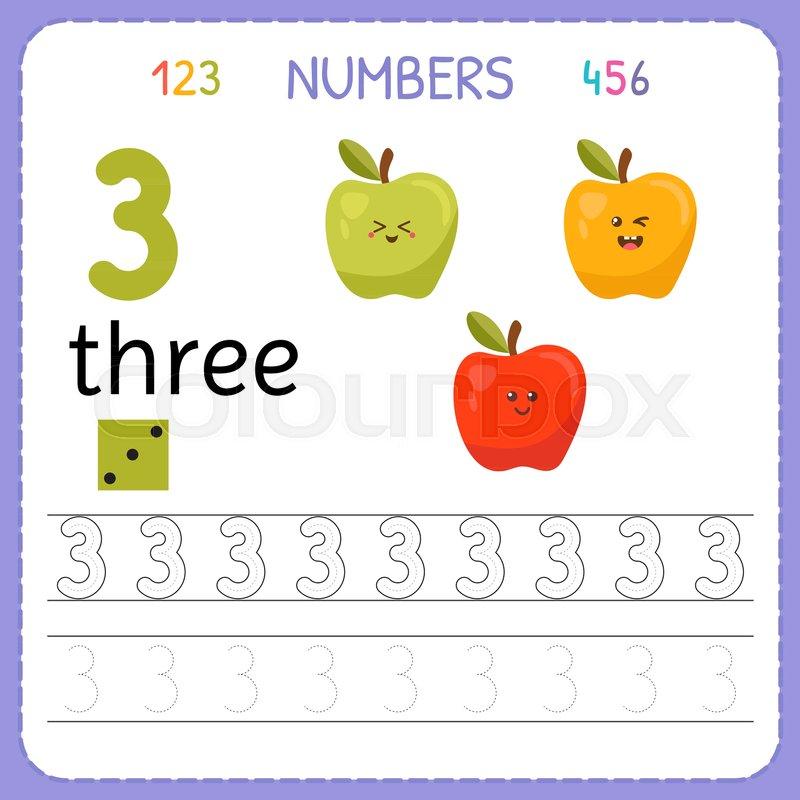 Numbers Tracing Worksheet For Preschool And Kindergarten Writing