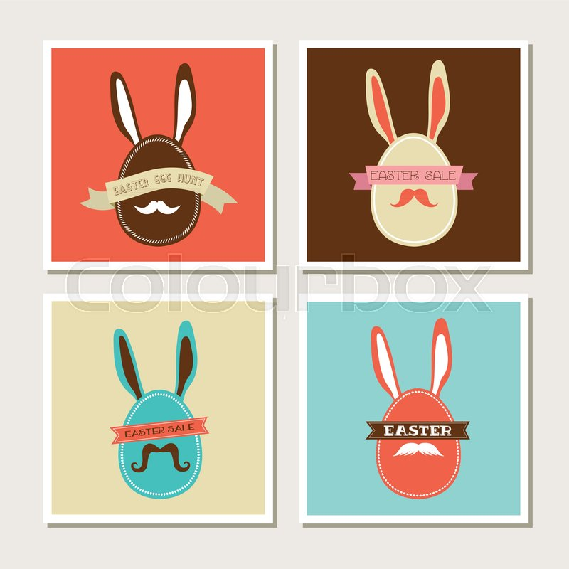 happy hipster easter set of stylish bunny cards stock vector
