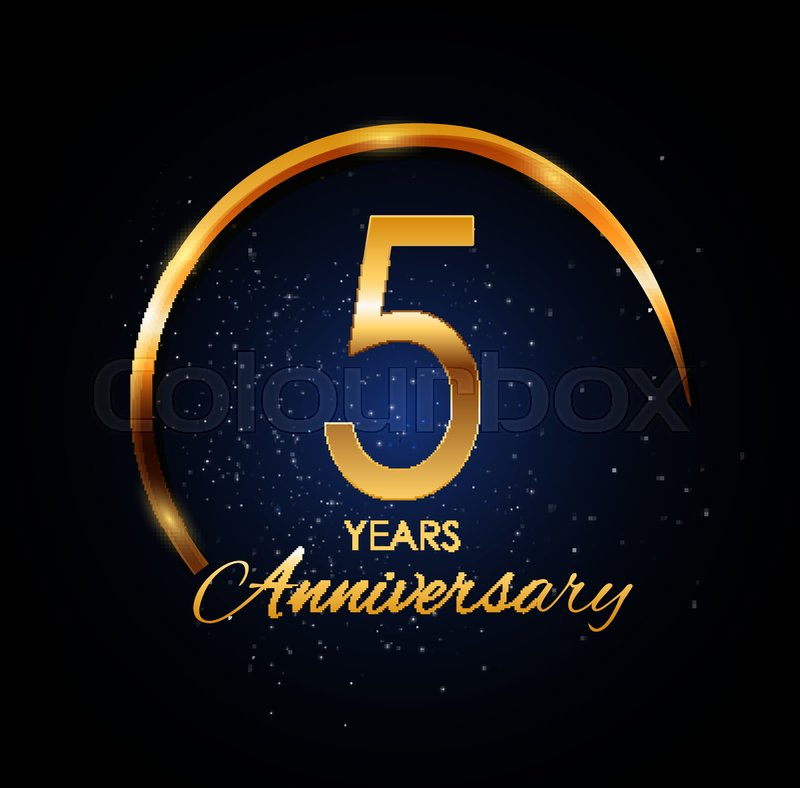 Template Logo 5 Year Anniversary Vector Illustration Eps10 Stock