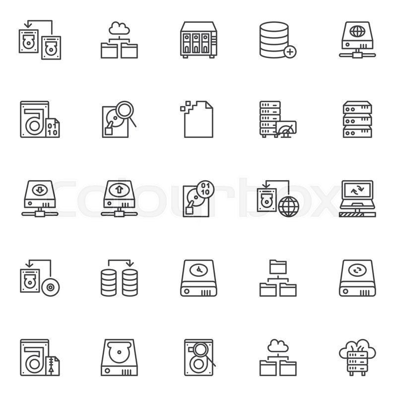 Data Recovery Outline Icons Set Linear Style Symbols Collection