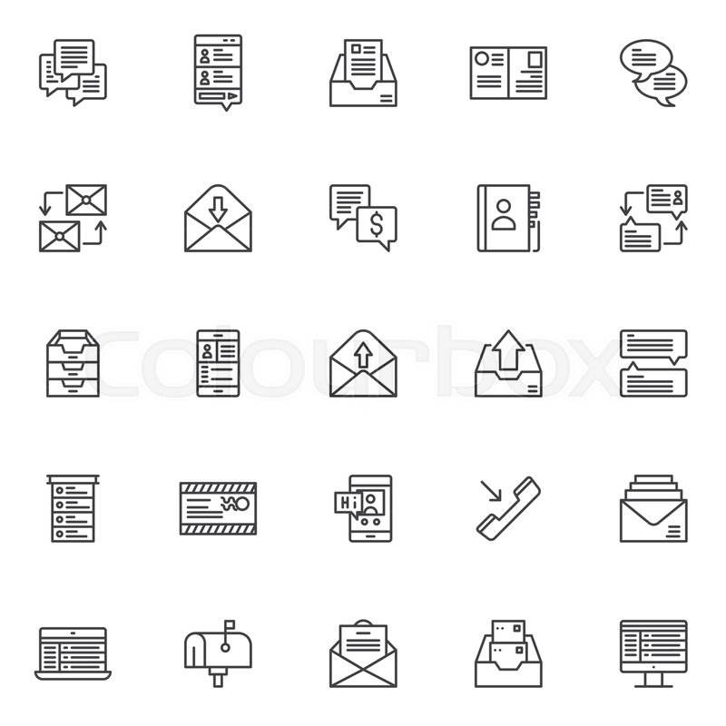 Dialogue Messages Outline Icons Set Linear Style Symbols Collection