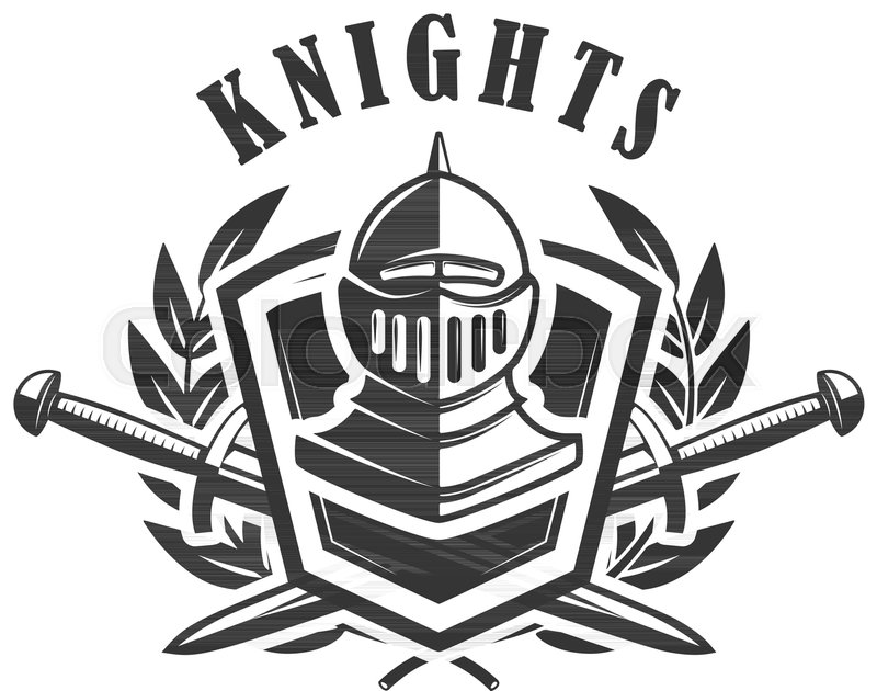 Knights Emblem Template With Medieval Knight Helmet