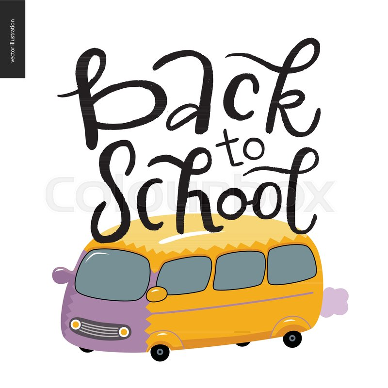 Back To School Lettering Flat Cartoon Stock Vector Colourbox