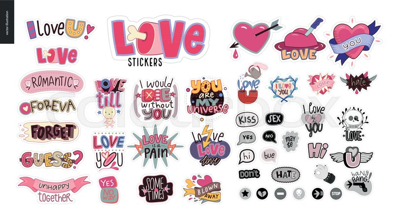 set of contemporary girlie love letter logo a set of vector patches