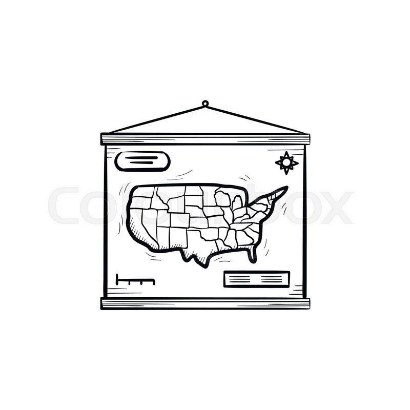 World map hand drawn outline doodle icon school world map hanging world map hand drawn outline doodle icon school world map hanging on the wall vector sketch illustration for print web mobile and infographics isolated gumiabroncs Gallery