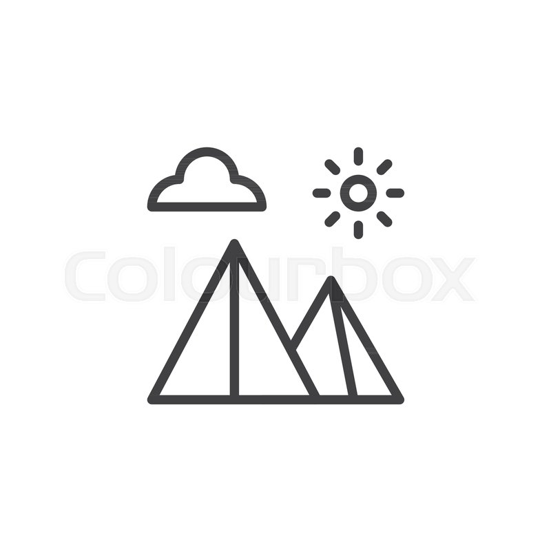 egyptian pyramids landscape outline icon linear style sign for