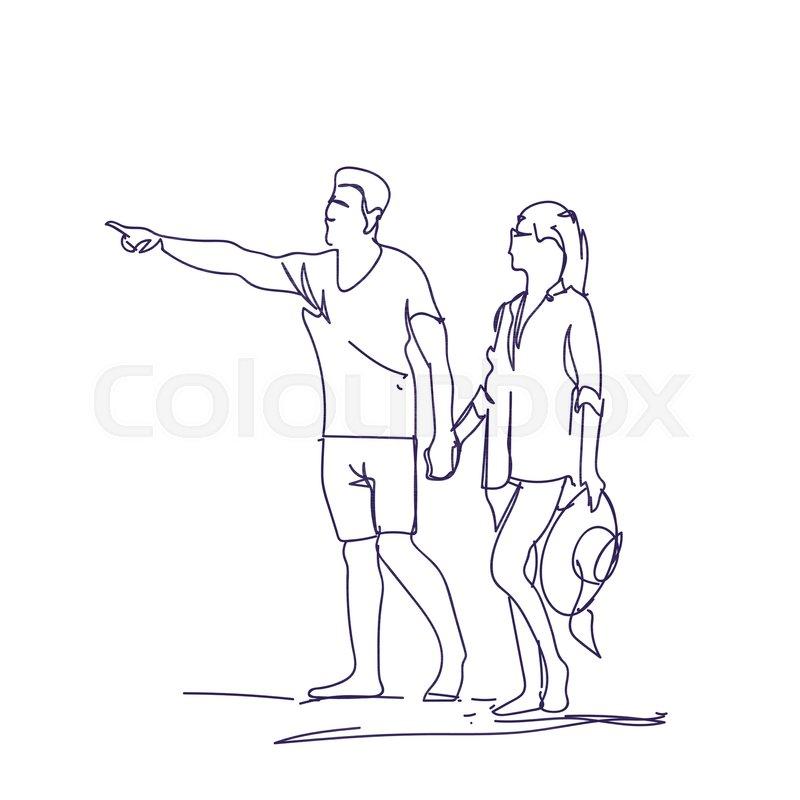 Sketch Couple Walking Holding Hands Stock Vector