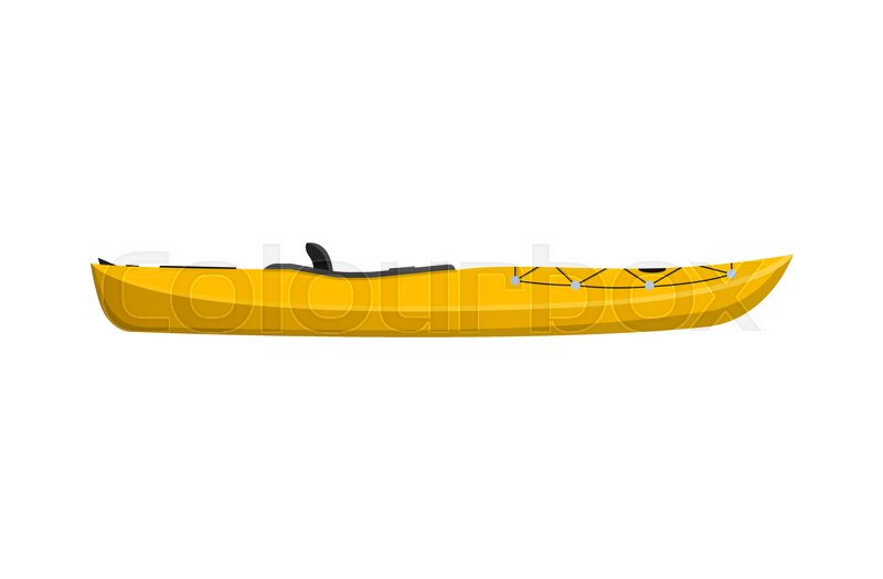 Side View Yellow Travel Kayak Isolated Icon Rafting Kayaking Paddling And Canoeing Outdoor Activity Extreme Water Sport Relaxation On River Or Lake