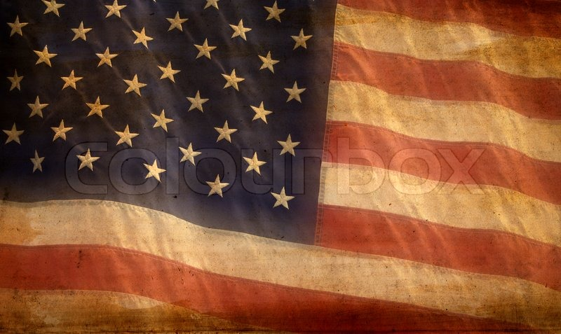 Patriotic American Flag Background With Aged Soft Grunge Texture Look