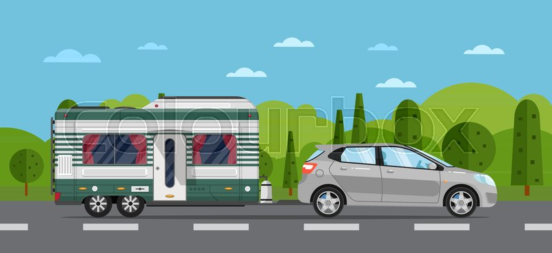 Road Travel Poster With Hatchback Car And Camping Trailer On Nature Background RV Caravan Compact Motorhome Mobile Home For Country Traveling