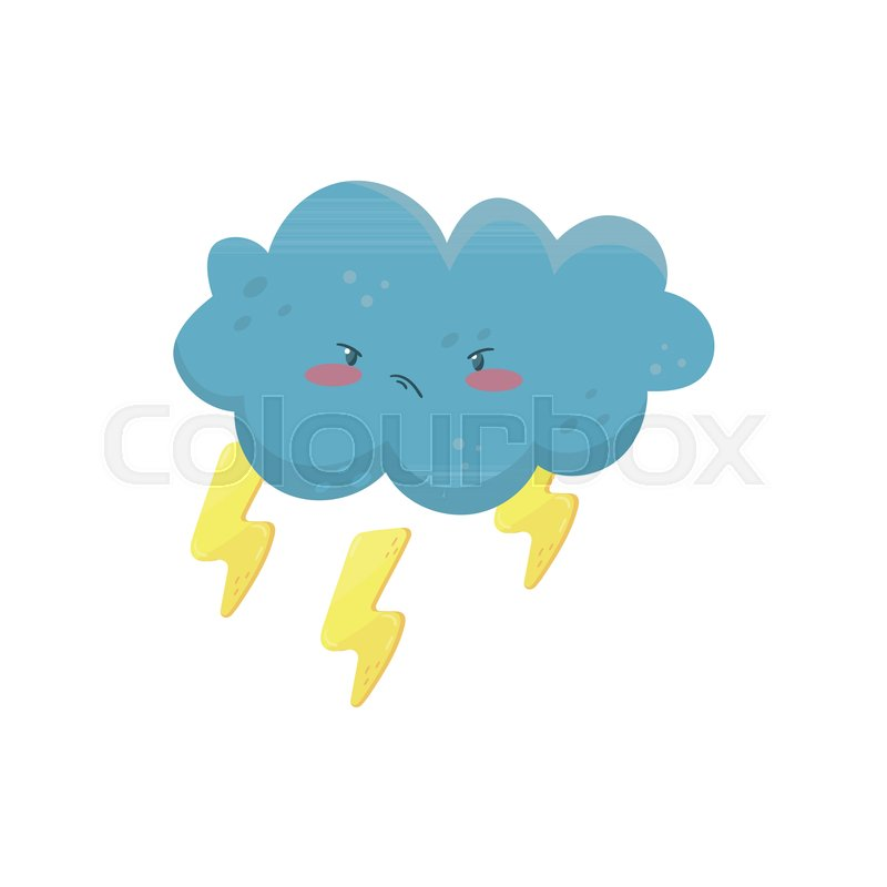 little angry cloud with yellow lightning bolts funny weather and