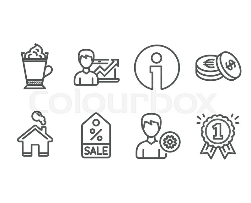 Set Of Support Savings And Latte Coffee Icons Success Business