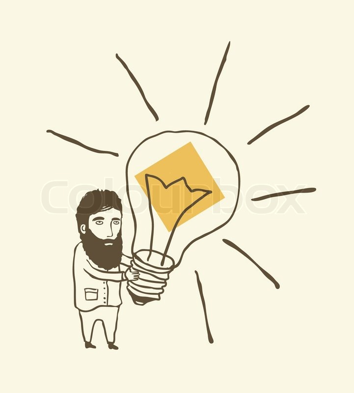 Bearded Man Thinking With Light Bulb