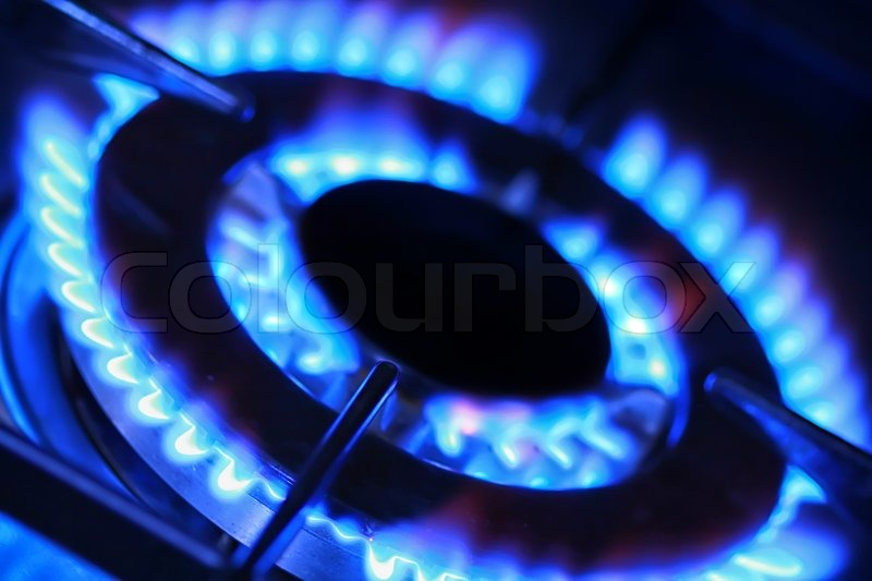 blue flames of gas stove stock photo colourbox