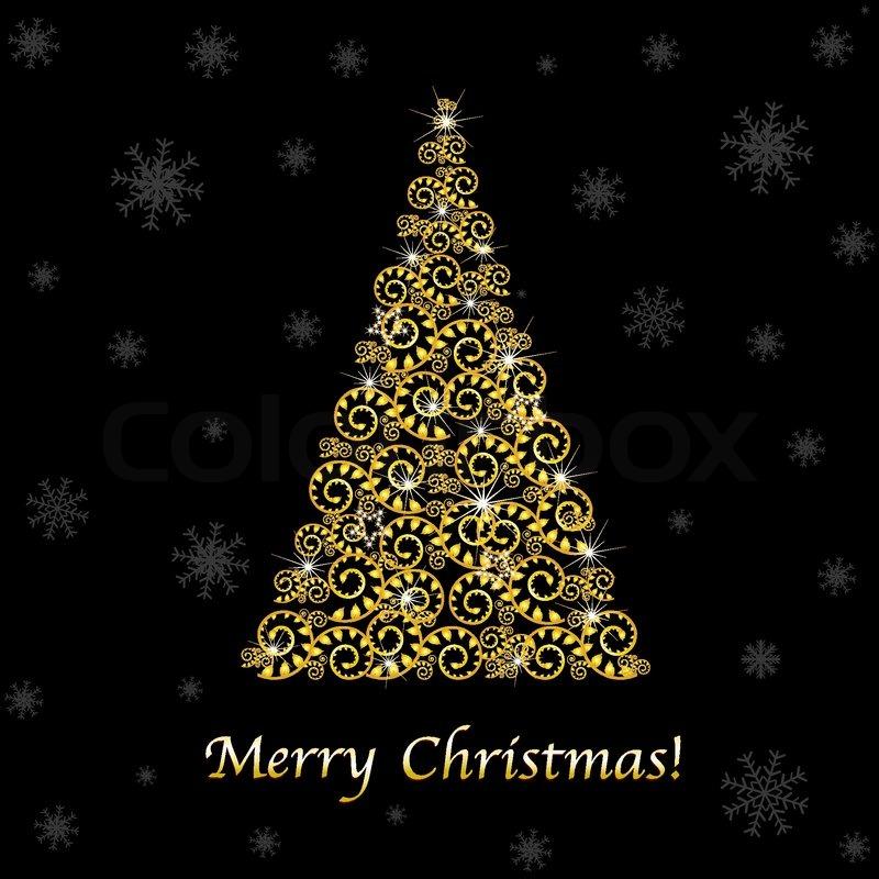 abstract gold weihnachtsbaum auf schwarzem hintergrund. Black Bedroom Furniture Sets. Home Design Ideas