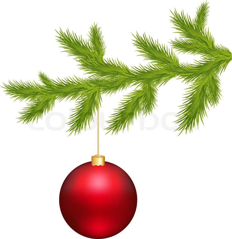 Branch of christmas tree and ball isolated on