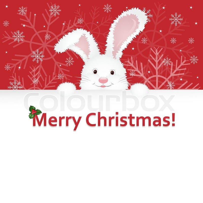 Christmas Rabbit Symbol Of Year With Congratulatory Text Vector