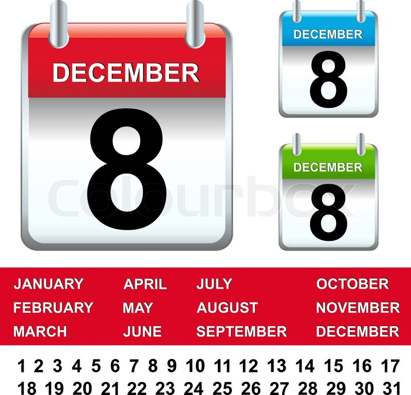 Stock vector of '3 Calendar With Figures And Months, Isolated On White Background, Vector Illustration'