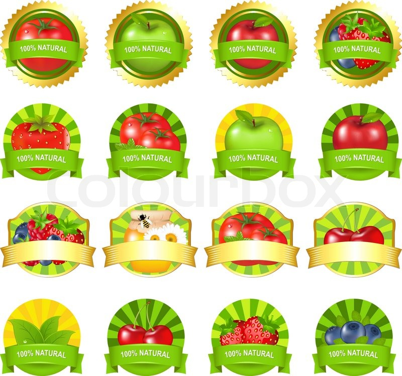 Fruits And Vegetables Labels Set, Isolated On White