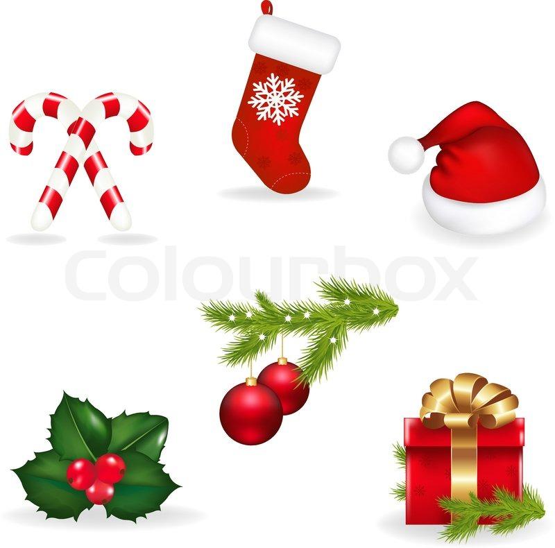 Christmas Set Von Weihnachten Socken, Cap von Santa Claus , Holly ...