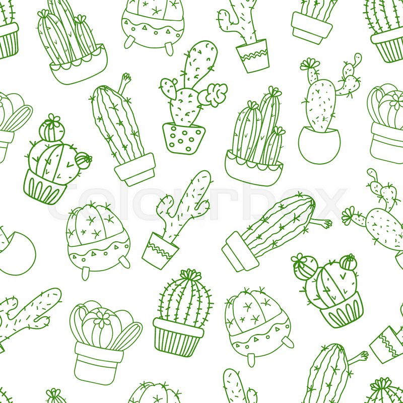 Cactus 6x8 FT Photo Backdrops,Cartoon Flower Pattern with in Pots and Vases Vintage Inspired Ornamental Design Background for Baby Shower Birthday Wedding Bridal Shower Party Decoration Photo Studio