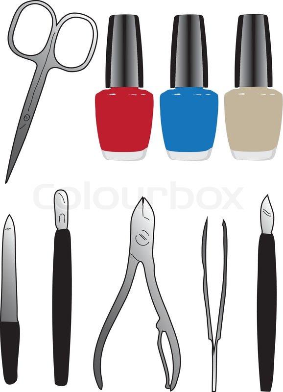 A Set Of Tools And Nail Polish Vector Illustration Stock Vector