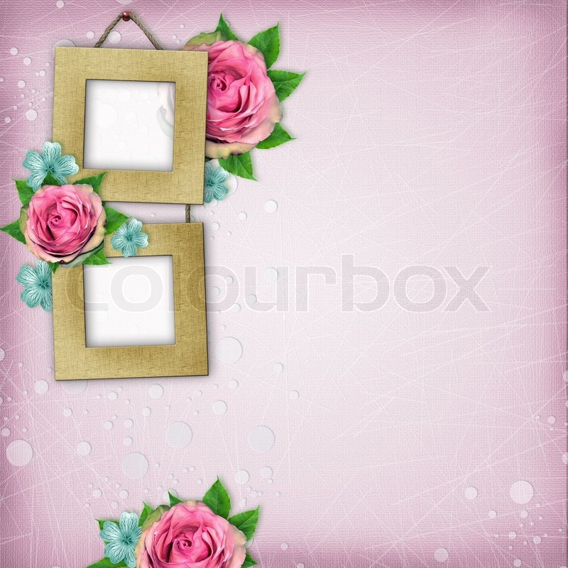Beautiful album page in scrapbook style with paper frames for photo ...